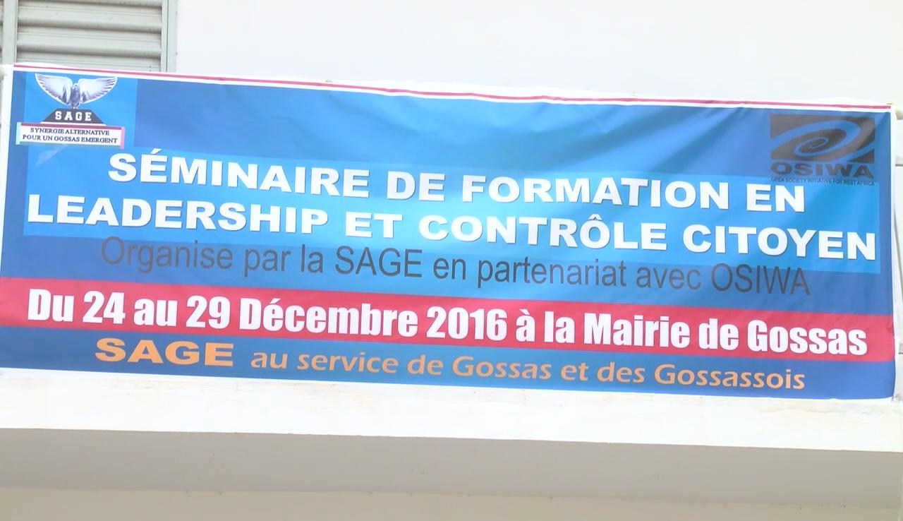 Gossas: Séminaire de formation en leadership et contrôle citoyen organisé par la SAGE
